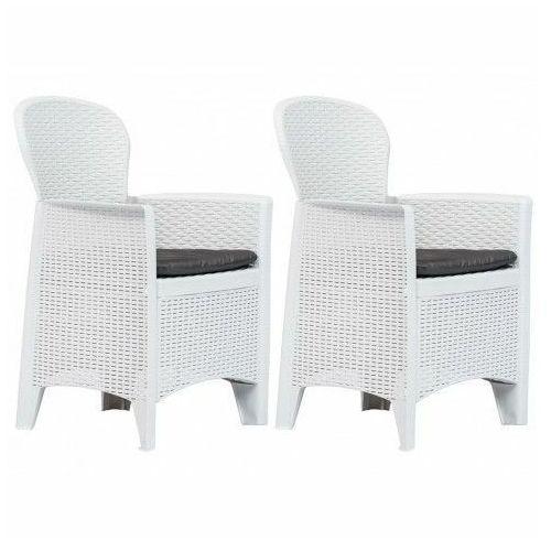 Krzesła ogrodowe z poduszkami Campos 2 szt - białe, vidaxl_45598