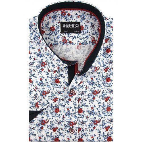 Sefiro Koszula męska biała w czerwone kwiaty slim fit na krótki rękaw k910