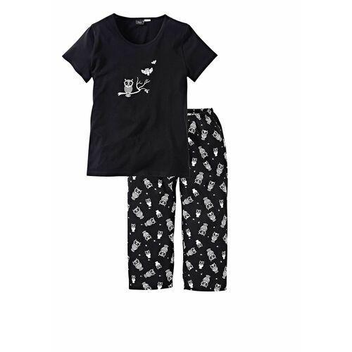 Piżama z krótkim rękawem i spodniami 3/4 bonprix czarno-biały, kolor czarny