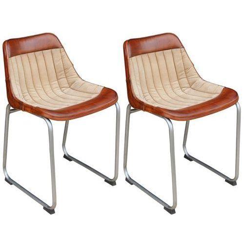 Krzesła do jadalni 2 szt. prawdziwa skóra i płótno, brąz i beż