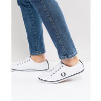 kingston leather tipped plimsolls in white - white, Fred perry