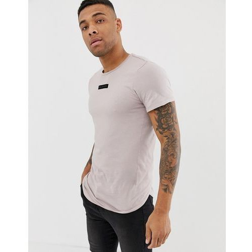 Religion t-shirt in ash pink with logo patch and curved hem - Pink, w 5 rozmiarach