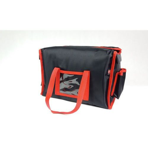 Podgrzewana torba wykonana z nylonu na 6 opakowań o wymiarach 200x250 mm, czarna z czerwoną lamówką   , lunchbox-6 p marki Furmis