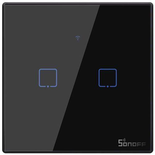 Dotykowy włącznik światła wifi + rf 433 2-kanałowy czarny t3eu2c-tx marki Sonoff