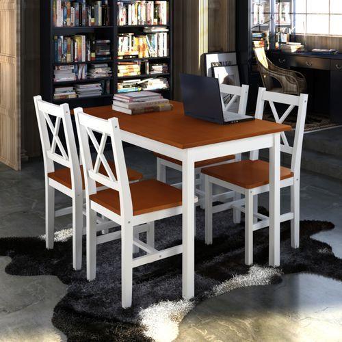 drewniany zestaw: stół i cztery krzesła, kolor biel brąz wyprodukowany przez Vidaxl