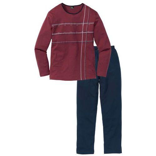 Piżama bonprix ciemnoniebiesko-bordowy