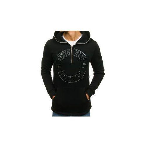 Długa bluza męska z kapturem z nadrukiem czarna denley 171586, Breezy