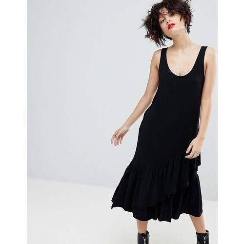 Mango Ruffle Midi Dress - Black, kolor czarny