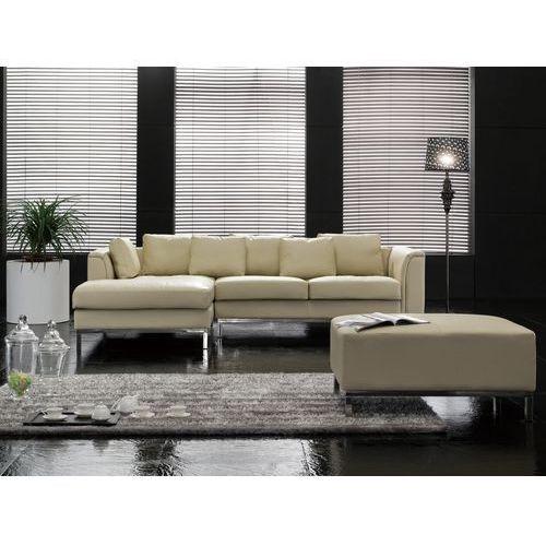 Sofa narożna P – skórzana – beżowa - sofa z pufą - kanapa OSLO