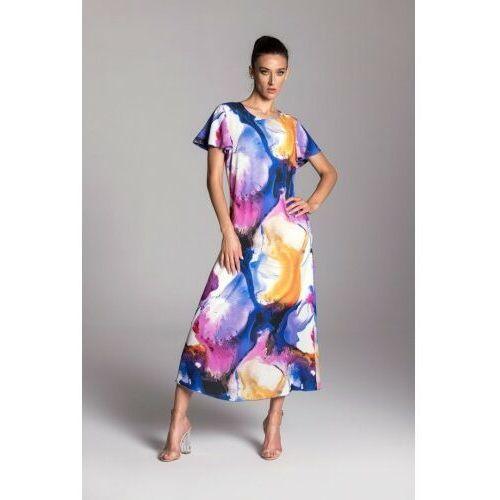 Długa letnia sukienka trapezowa kolorowa z krótkim rękawem typu motylek - KOLEKCJA ROZLANE FARBY