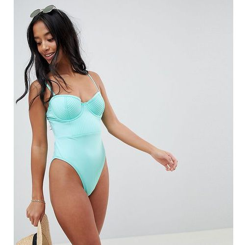 ASOS DESIGN Petite recycled stitched cupped underwired swimsuit in frozen - Blue, w 2 rozmiarach