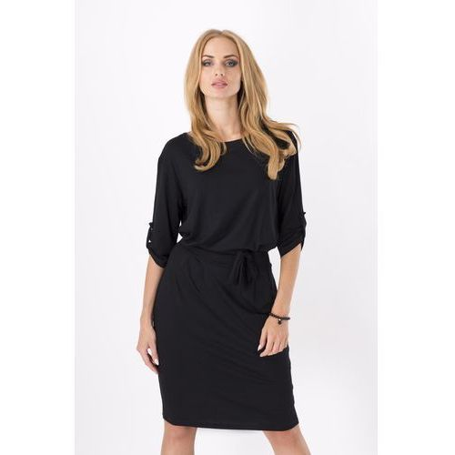 Czarna Kobieca Sukienka Midi z Podpinanym Rękawem z Paskiem, w 5 rozmiarach