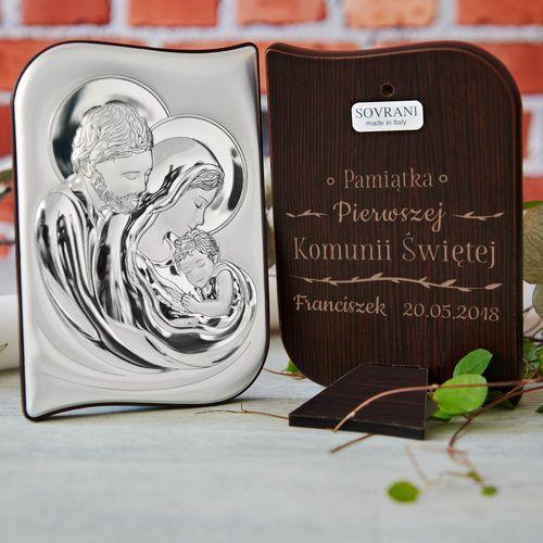 Pamiątka komunii - święta rodzina - srebrny obrazek z grawerem - św. rodzina marki Mygiftdna