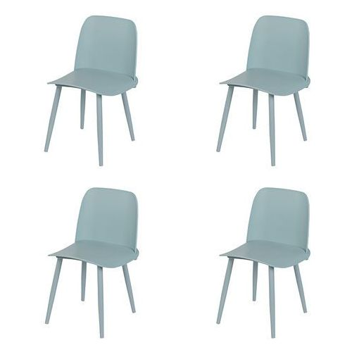 Zestaw 4 krzeseł z tworzywa sztucznego w kolorze jasnoniebieskim ze stalowymi nogami - Nada, kolor niebieski