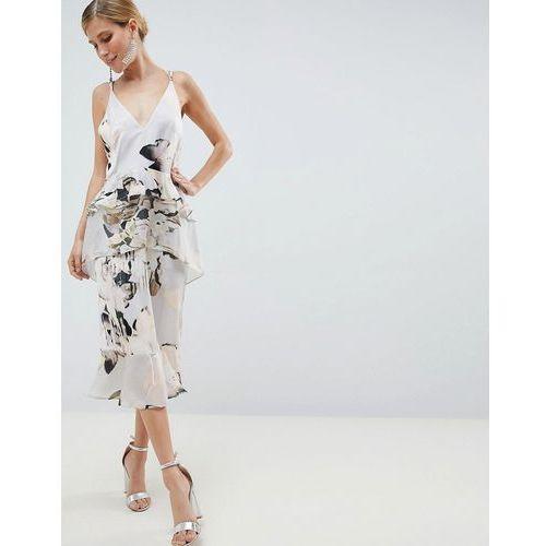 ASOS DESIGN floaty cami midi dress in blurred floral print - Multi