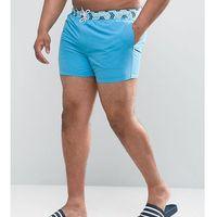 ASOS PLUS Swim Shorts With Contrast Geo Print Waistband In Short Length - Blue, 1 rozmiar