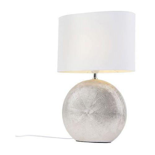 Lampa stołowa srebrna z białym abażurem 34 cm - cleo marki Honsel