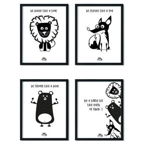Zestaw 4 plakatów LISEK, MIŚ I LEW 30 x 40 cm