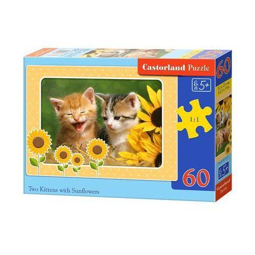 Puzzle 60 elementów. Kotki i słoneczniki (B-06779-1)