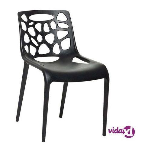 Krzesło ogrodowe - plastikowe czarne - krzesło z tworzywa sztucznego - morgan marki Beliani