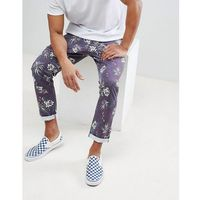 Asos design Asos slim cropped trousers in vintage washed out leaf print - navy