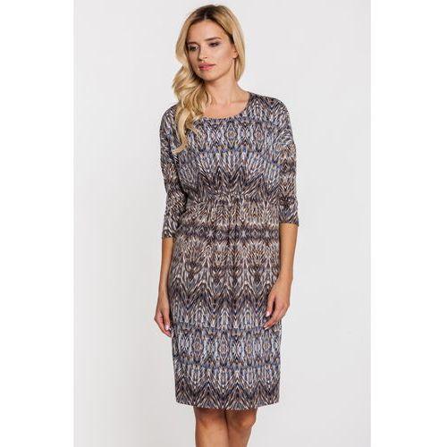 Sukienka w geometryczne wzory w kolorach ziemi - Far Far Fashion, kolor szary