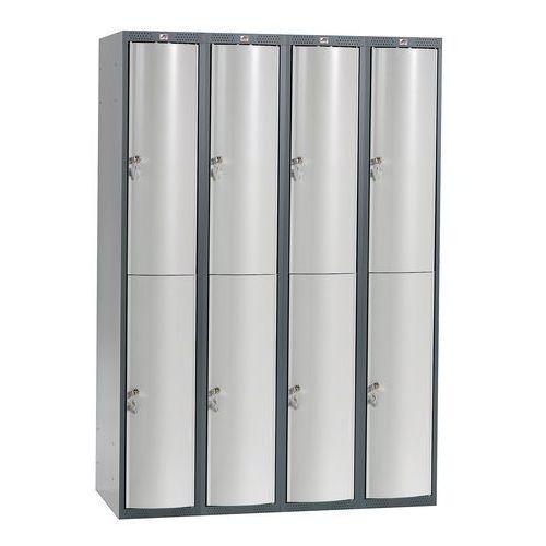 Metalowa szafa ubraniowa CURVE, 4x2 drzwi, 1740x1200x550 mm, szary