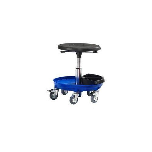 Niebieski, obrotowy taboret na kółkach, Siedzisko poliuretan, 210601