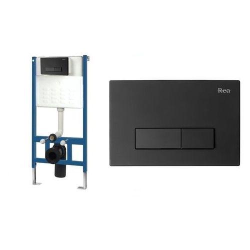 Rea Stelaż podtynkowy wc zestaw z przyciskiem h black (5902557345045)