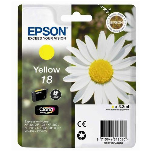 EPSON 18 ink cartridge yellow standard capacity 3.3ml 180 pages 1-pack blister without alarm, C13T18044012