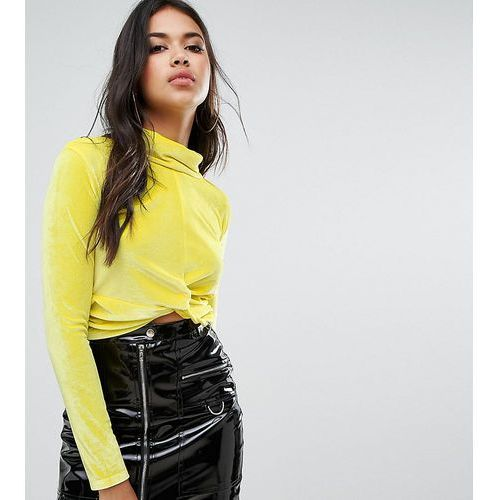 Boohoo Knot Front High Neck Velvet Top - Yellow