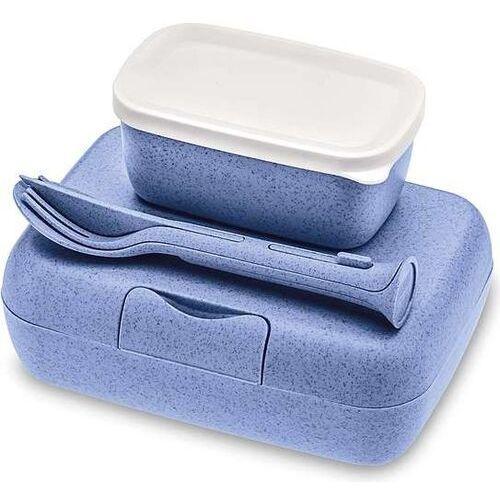 Pojemniki na lunch candy ready organic niebieskie ze sztućcami 3 el.