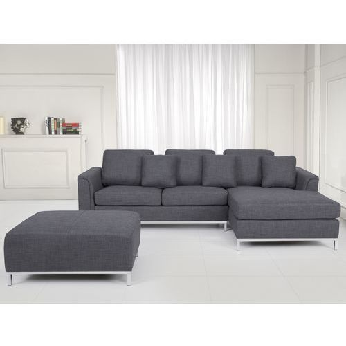 Nowoczesna sofa z pufą w kolorze szarym L - kanapa tapicerowana - OSLO, kolor szary