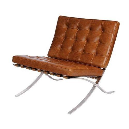 Fotel BA1 brązowy jasny vintage - jasny brązowy, kolor brązowy