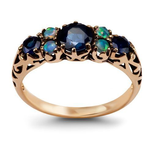 Biżuteria yes Kolekcja wiktoriańska - pierścionek z szafirami i opalami