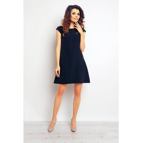 Granatowa Elegancka Sukienka Trapezowa z Mini Rękawkiem, suknia, sukienka Azjatycki Styl