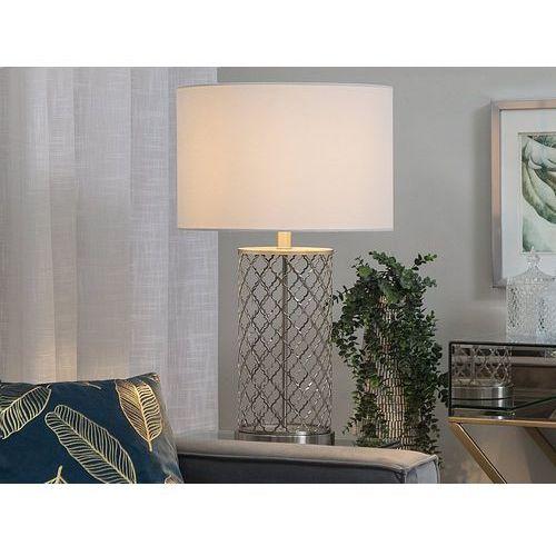 Beliani Lampa stołowa biała/srebrna 63 cm balleza (4251682201308)