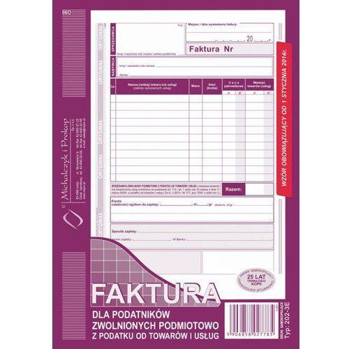 Faktura dla podatników zwolnionych podmiotowo z podatku od towarów i usług a5 202-3e - marki Michalczyk i prokop