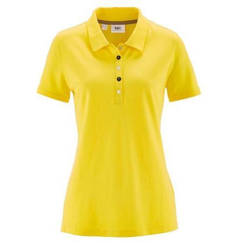 Shirt polo z bawełny pique bonprix żółty cytrynowy