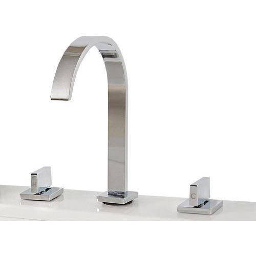 Chromowana bateria łazienkowa umywalkowa - kran dwuuchwytowy