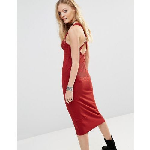 Free People All The Right Angles Midi Dress - Red