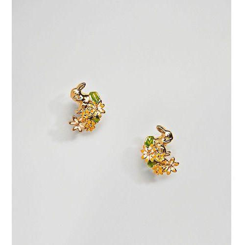gold plated rabbit & hare stud earrings - gold marki Bill skinner