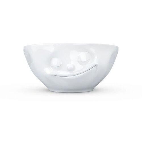 """58products - miseczka - """"szczęśliwa buźka"""" - biała błyszcząca - 350 ml"""