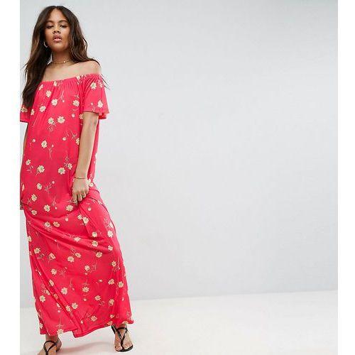 off shoulder maxi dress in floral print - multi, Asos tall