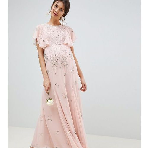 Asos design maternity delicate embellished bridesmaids maxi dress with angel sleeve - pink marki Asos maternity
