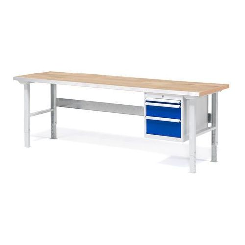 Stół warsztatowy Solid, zestaw z 3 szufladami, 500 kg, 2000x800 mm, dąb, 232142