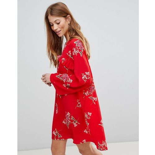 QED London Floral Shift Dress With Frill - Red, kolor czerwony