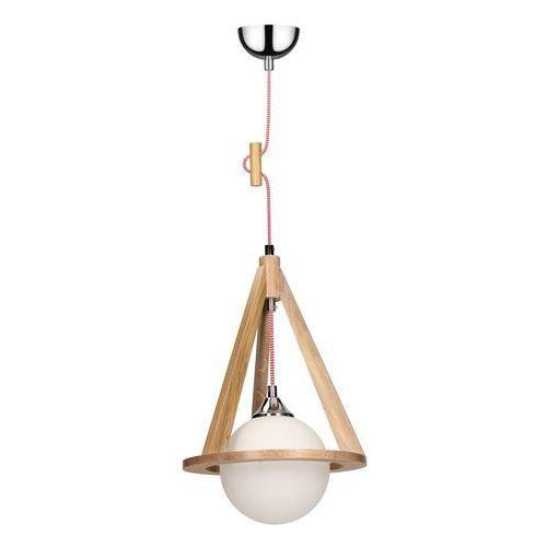 SPOT-LIGHT KONAN Lampa wisząca Dąb/Chrom/Czerwono-biały 1XE27-60W 1051570 (5901602336779)