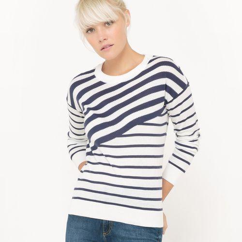 Sweter z okrągłym dekoltem, w asymetryczne paski