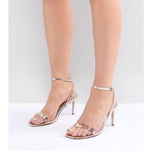 ASOS DESIGN Half Time Wide Fit Barely There Heeled Sandals - Gold